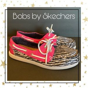Bobs by Skechers Zebra Sequin Boat Shoes 9